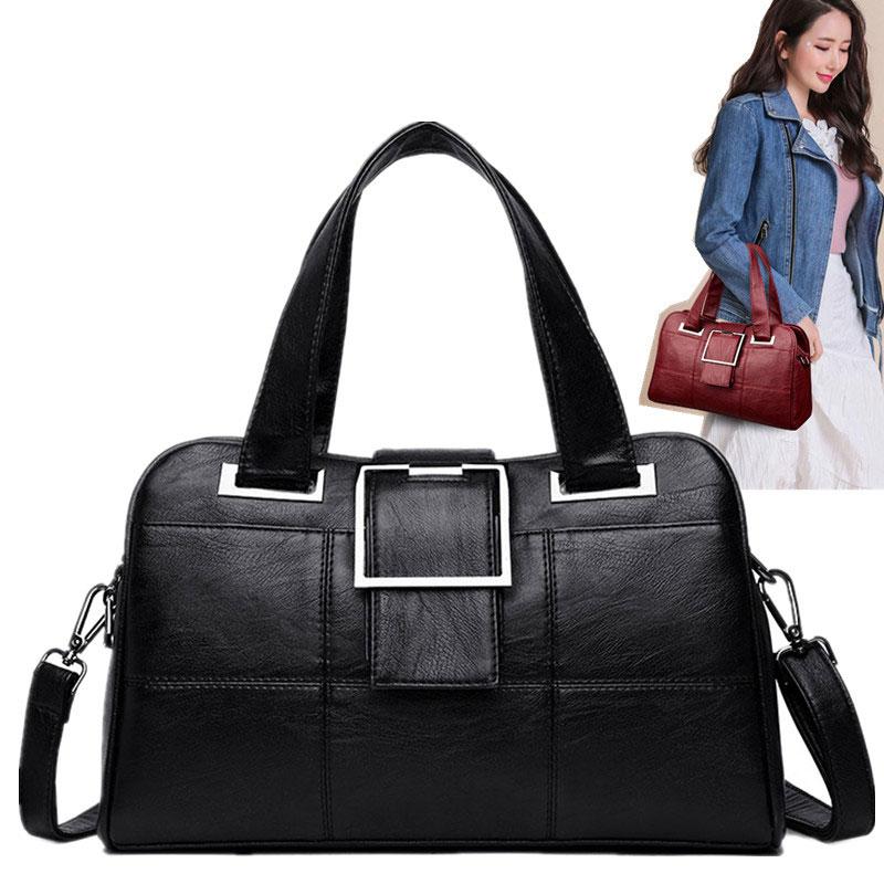Bolsos de mano para mujer 2019 bolsos de hombro de moda bolso de compras de cuero genuino Bolso Negro para niña