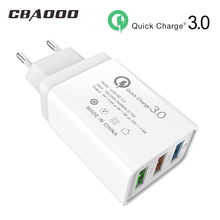 3 Port 18W USB Charger With Cable 5V 12V 9V Quick Charge 3.0 Mobile Phone Wall EU Plug Fast Charging Dock 2A 3A Adapter