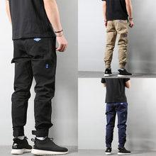 Модные уличные мужские джинсы свободного покроя с большим карманом