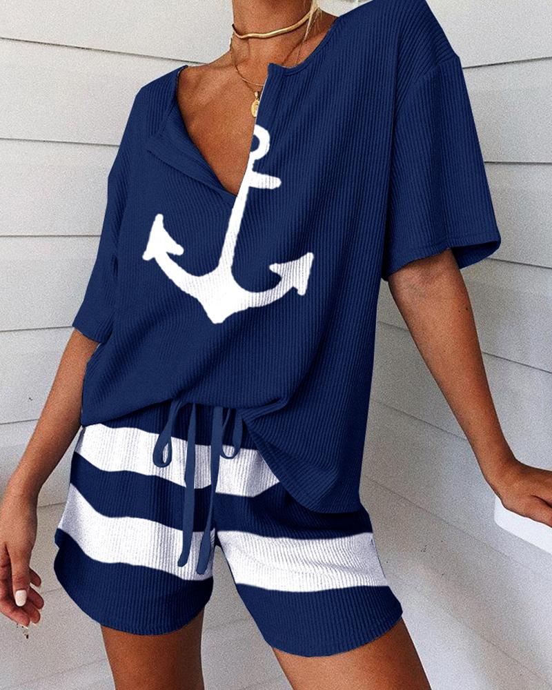 Women Fashion Homewear Two-Piece Loungeweaar Set  Pajamas Set Boat Anchor Print Short Sleeve Top&Drawstring Shorts Set