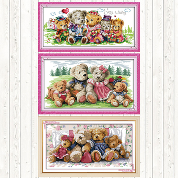 Bear Family DIY Needlework Crafts DMC Cotton Thread Printed Canvas 14CT 11CT Counted and Stamped Cross Stitch Kit Embroidery Kit swing handmade dmc cotton thread printed canvas cross stitch embroidery kit 14ct 11ct counted and stamped diy needlework crafts