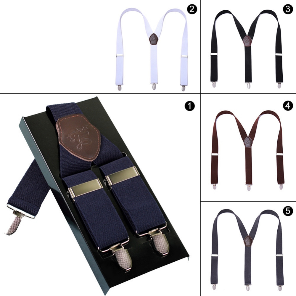 Men's Men's Leather Button Elastic Smoking Y Back Man's Bretels Broek Jeans Bretels