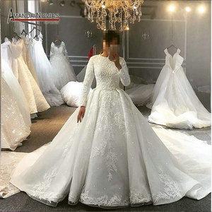 Image 1 - Pełna pokrywa muzułmaninem suknia ślubna suknia ślubna dla muzułmańskie dziewczyny