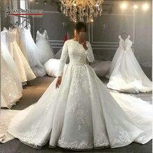 Volledige cover moslim bruidsjurk trouwjurk voor moslim meisjes