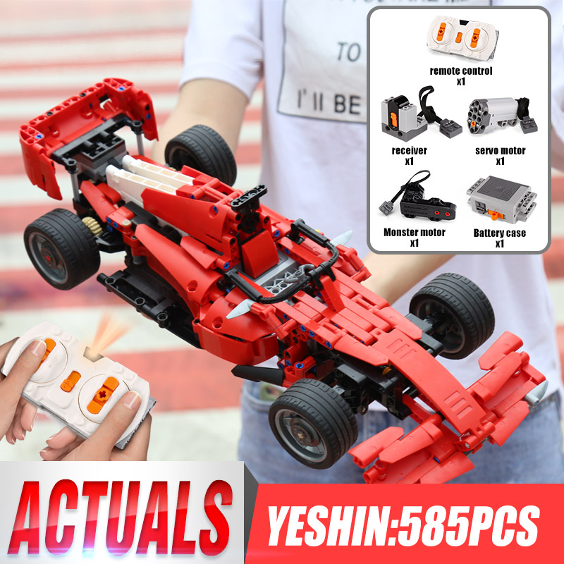 Yeshin Motor Function Cars The MOC Technic Motor Car F1 Speed Racing Car Building Blocks Bricks Assembly Car Model Kid Toys Gift image