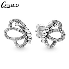 CUTEECO 2019 New Shining Zircon Elegant Butterfly Stud Earrings Silver Color Wedding Earrings for Brides Fashion Jewelry cuteeco 2019 new tree of life zircon stud earrings elegant brand earrings for women fashion jewelry accessories gift