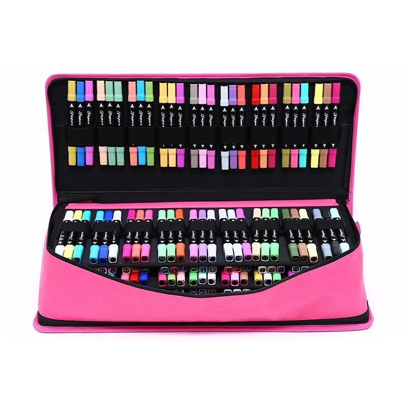 Big 216 Holes Pencil Case For Art Marker Pen Box Professional Girls Boys School Pencilcase Large Penal Handle Shoulder Bag Kit