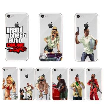 YNDFCNB Grand Theft Auto Phone Case For iPhone X XS MAX 6 6s 7 7plus 8 8Plus 5 5S SE 2020 XR 11 11pro max Clear funda Cover image