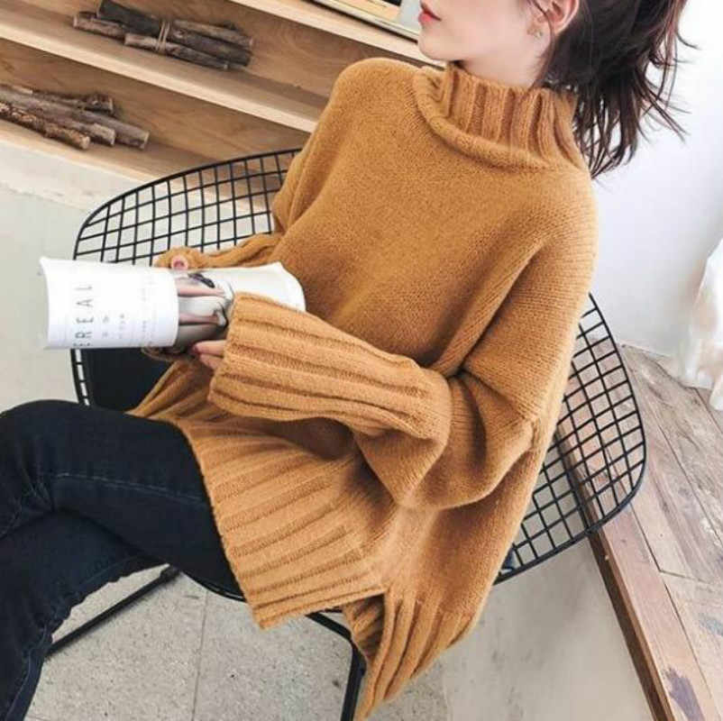 Women Casual Turtleneck Loose Pullover Sweater Korean Long Sleeve Knitted Oversized Jumper Autumn Winter Thick Tops Q9030