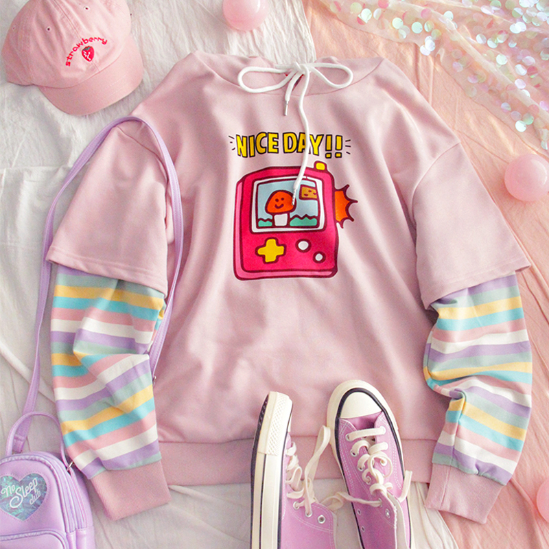 Harajuku Kawaii Lolita Sweatshirt Womens Clothing Cute Printed Long Sleeve Pink Hooded Sweatshirt Japanese Cute Bear Hoodies