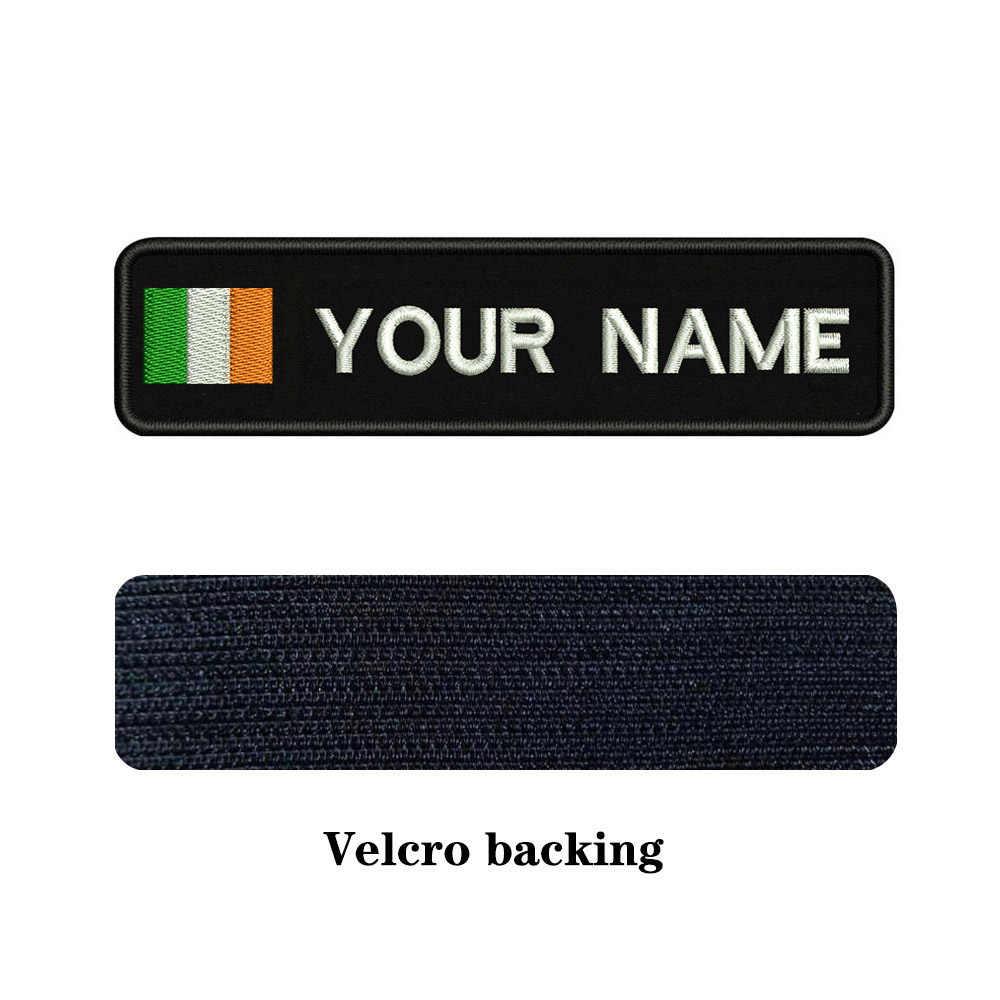 Borduurwerk Custom Ierland Vlag Naam Of Tekst Patch 10cm * 2.5cm badge Iron On Of Velcro Voor kleding Broek Rugzak Hoed