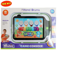 Mini Hand Touch Jazz Drum with Piano Play, Children Baby Light Music Game Console, Kid Tablet Educational Toy Musical Instrument mini qute piece fun 3d musical instrument guitar harp erhu drum set piano bass fiddlei metal puzzle adult models educational toy