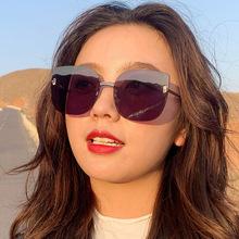 Nowe okulary przeciwsłoneczne bez oprawek damskie okulary przeciwsłoneczne Cat Eye Vintage Lady letnie okulary przeciwsłoneczne damskie okulary w stylu Retro óculos Feminino tanie tanio ZXFZYW CN (pochodzenie) WOMEN Dla dorosłych ALLOY NONE Gradient UV400 59mm Z poliwęglanu 11910 63mm
