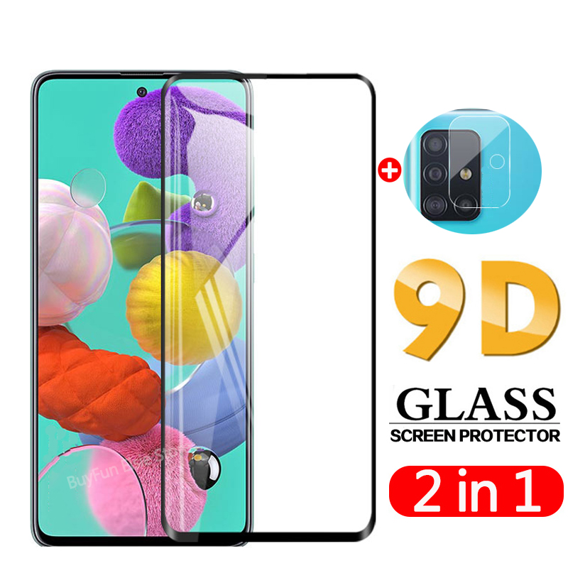 2 in 1 Camera lens tempered glass for samsung galaxy a51 a71 screen protector on sumsun a 51 71 a515f a715f protective glass