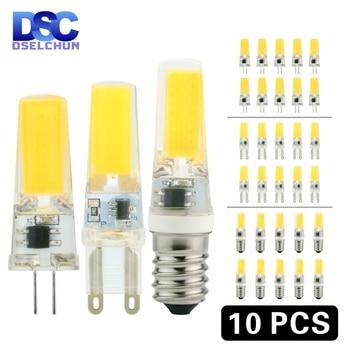 цена на 10pcs/lot LED G4 G9 E14 3W 6W Light Bulb AC/DC 12V 220V LED Lamp COB Spotlight Chandelier Lighting Replace 30W 60W Halogen Lamps