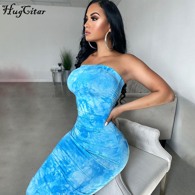 Hugcitar 2020 tie dye print bodycon sexy tube maxi dress summer women fashion streetwear outfits party wear sundress