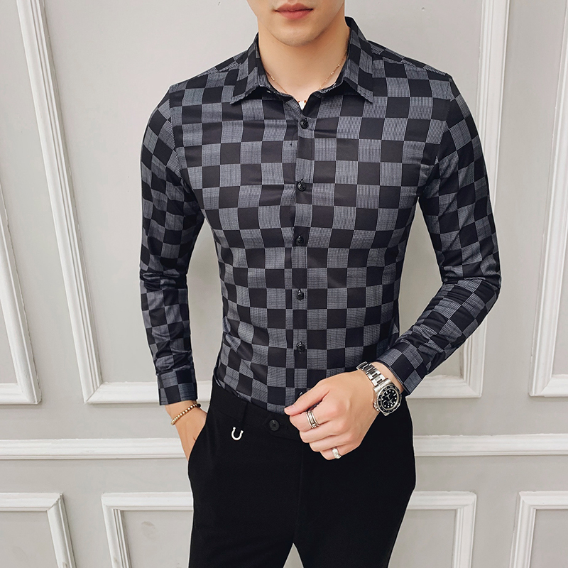 2019 Autumn Mens Business Shirt Plaid Designer High Quality Casual Men Slim Fit Long Sleeve Shirts Camisa Social Masculina