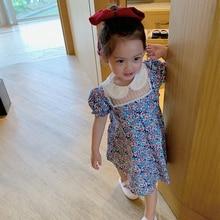 Baby Girl Dress Kids Summer Clothes Vintage Elegant Designer Cottagecore Birthday Cute Short Sleeve Floral Casual Cotton Costume