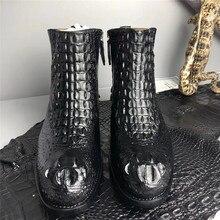Otantik gerçek timsah derisi el yapımı erkekler siyah yarım çizmeler düz taban hakiki timsah deri erkek Zip kış ayakkabı