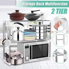 Estante para horno de microondas multifuncional ajustable de acero inoxidable estante de pie soporte doble para almacenamiento de cocina