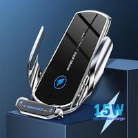 Cargador inalámbrico para coche, soporte de carga rápida Qi con Sensor automático, para IPhone 11, 12Pro Max, 15w