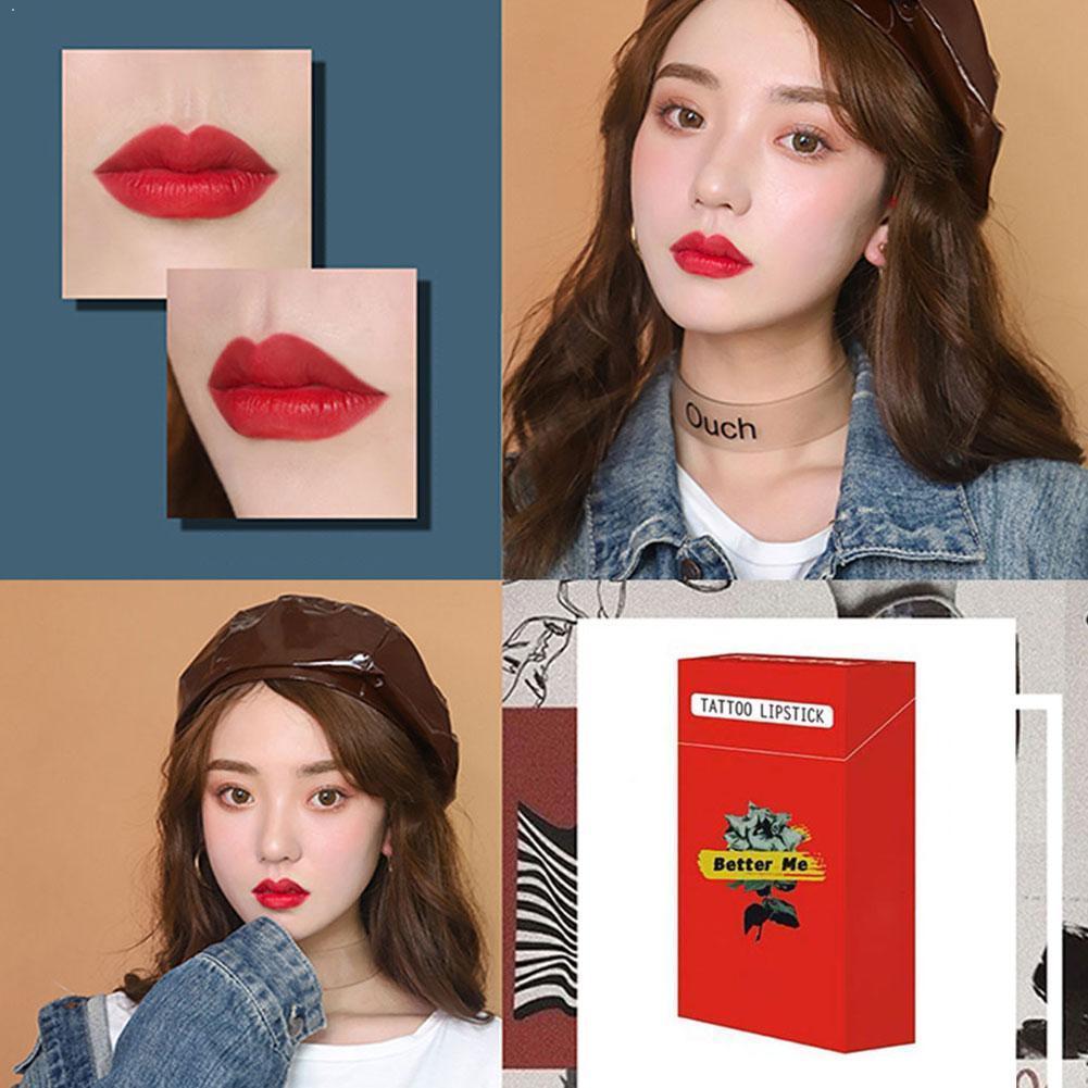 4 Colors Tobacco Box Cotton Swab Lip Gloss Set Moisturizing Lipstick Long Orange Lip Lasting Red Tint Liquid