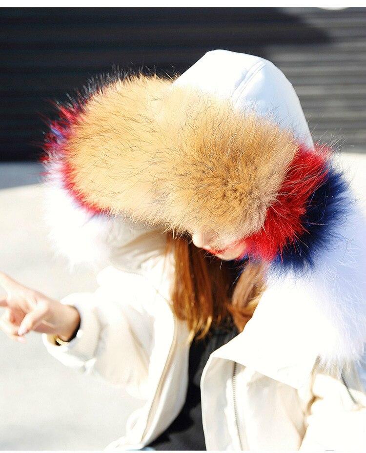 White Duck Down Jacket Winter Coat Women Racoon Fur Collar Korean Long Coat Puffer Jacket Chamarras De Mujer KJ1056