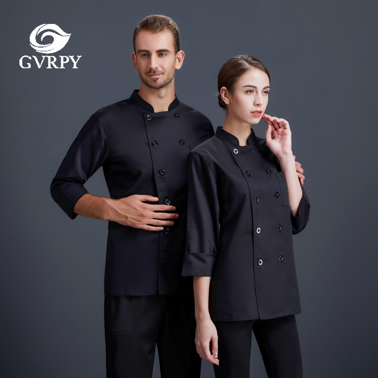 Solid Color Long Sleeve Chef Uniform Unisex High Quality Cooking Jacket Hotel Restaurant Cafe Bakery Hair Salon Waiter Shirt