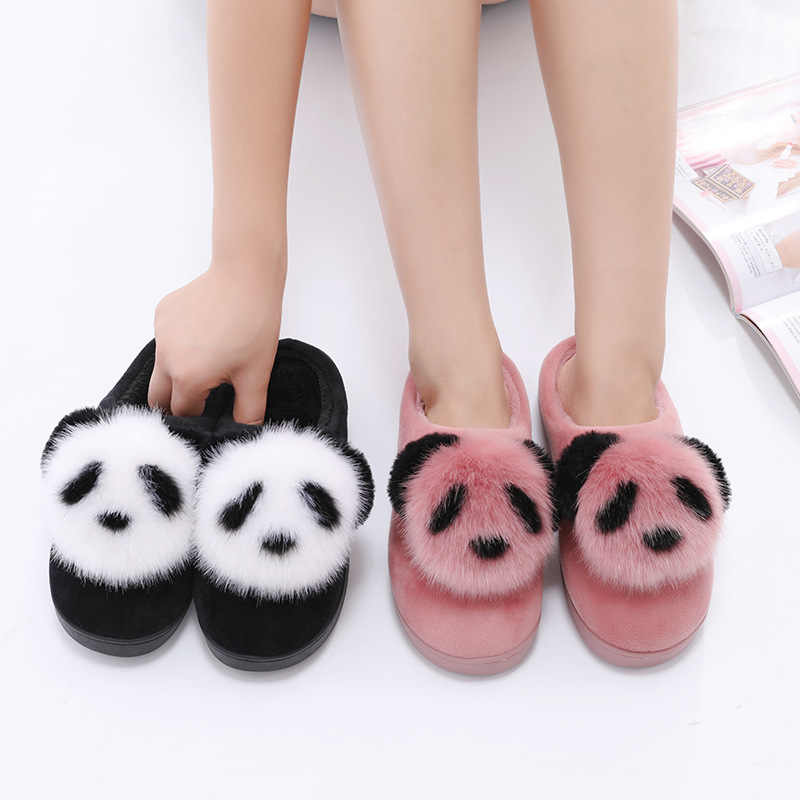 Vrouwen Katoen Slippers Leuke Panda Cartoon Winter Dame Slippers Indoor Home antislip Warm Pluche Slippers Bont Slides