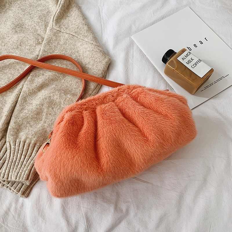 Bont Clutch Envelop Tas Luxe Handtassen Vrouwen Tassen Designer Volumineuze Afgeronde Vorm Portemonnees En Pluche Handtassen Koppelingen