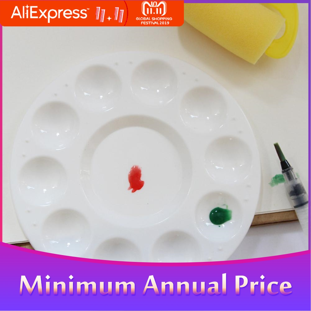 None Round Plastic Tray Palette Color Mixer Painting Supplies