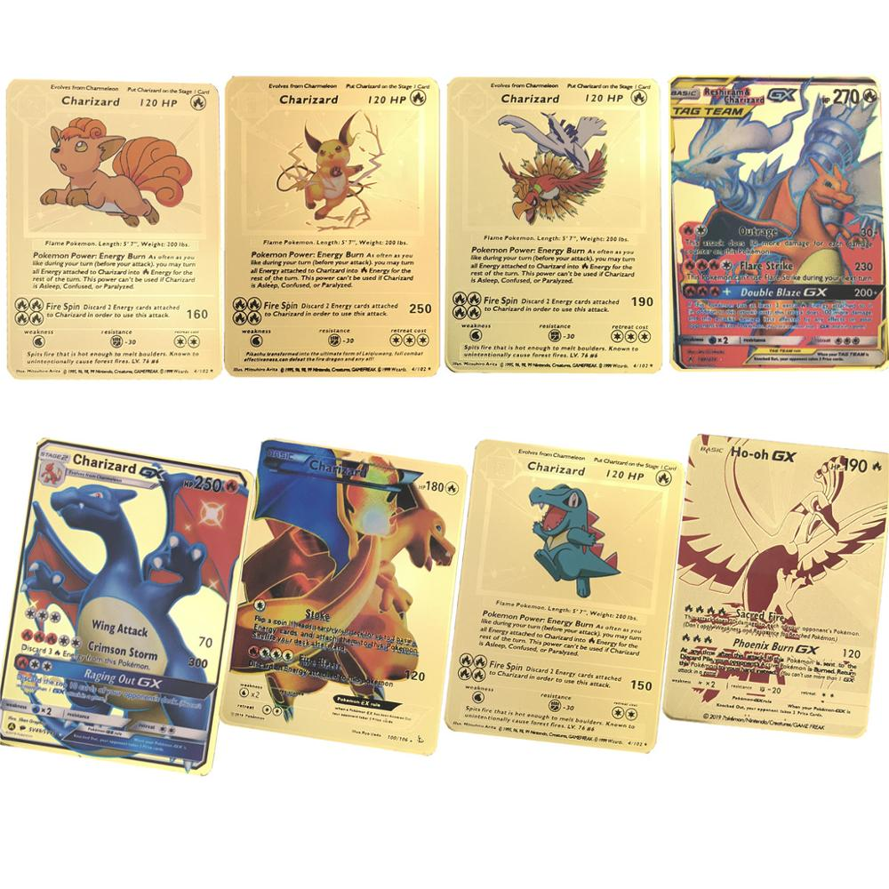 Best Selling  Gold Metal Color Battle Carte Game   Pokemones  Cards Energy Charizard Collection Card Toys In Stocks