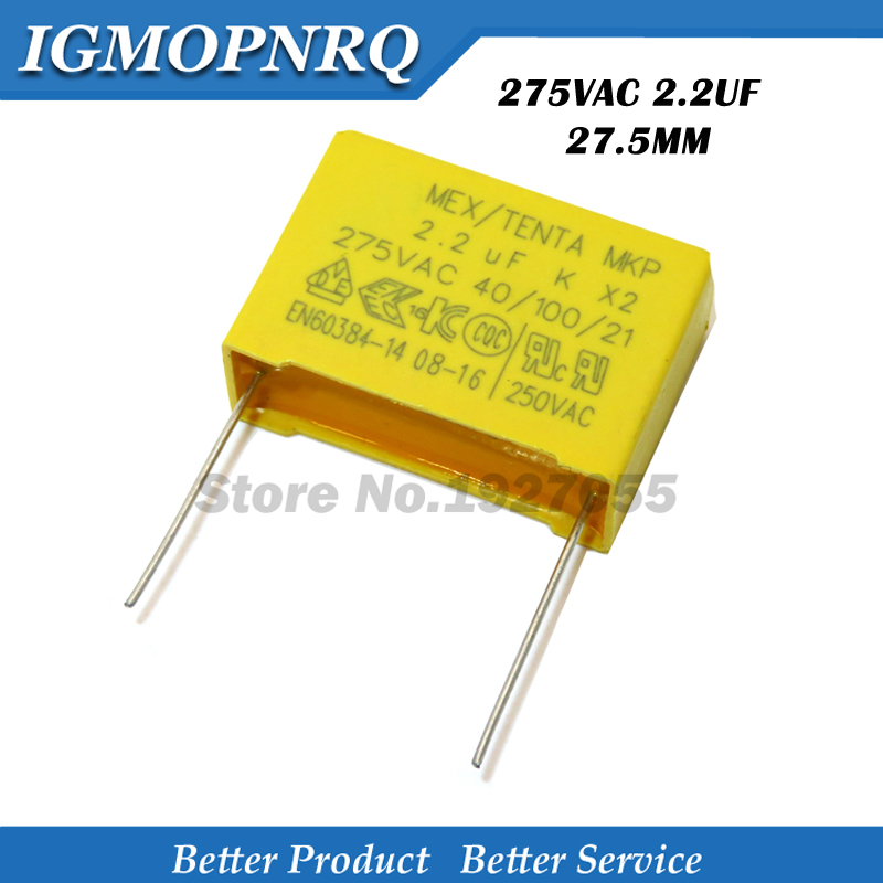 10pcs <font><b>capacitor</b></font> X2 <font><b>capacitor</b></font> <font><b>2.2uf</b></font> 275VAC Pitch 27.5mm X2 275V Polypropylene film <font><b>capacitor</b></font> <font><b>2.2uf</b></font> image