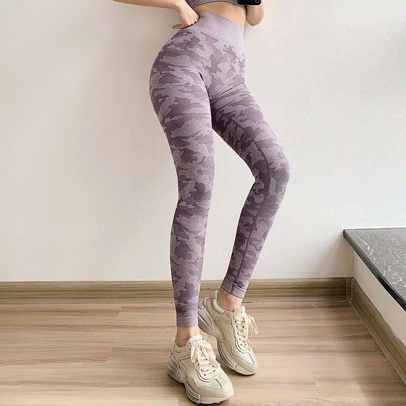 Online Celebrity Camouflage Pants Fitness Pants Women's High-waisted Elasticity Tight Peach Buttock Lifting Quick Drying Pants R