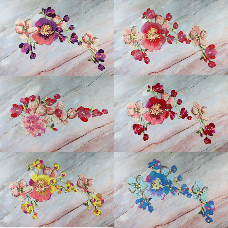 1Pcs Hot Beautiful Flower Embroidered Water Soluble Lace Cloth Stickers For Clothes High-grade Cheongsam Badge Patch Peony