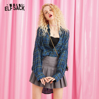ELF SACK Plaid Striped Drawstring Waist Korean Style Blouse Shirt Women Tops 2019 Autumn Long Sleeve Preppy Vintage Blouses