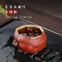 Unbekleideten erz violett sandähnlichen master tasse manuelle probe tee tasse doppel farbe granatapfel tasse einzigen preis 110 cc-in Teekannen aus Heim und Garten bei