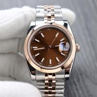 Reloj clásico de acero inoxidable con zafiro para mujer, accesorio mecánico automático de plata con diamantes, rosa, dorado, azul, 10 colores