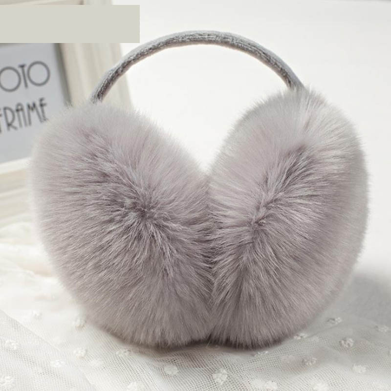 Calymel Winter Earcap Women Earmuff Cute Faux Rabbit Fur Ear Muffs Adjustable Warm Thermal Fluffy Plush Ear Cover