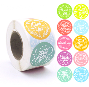 10types Colorful Custom Thank You Stickers 500pcs Seal Labels Roll Wedding Gift Box Packaging Handmade Stickers Heart Business