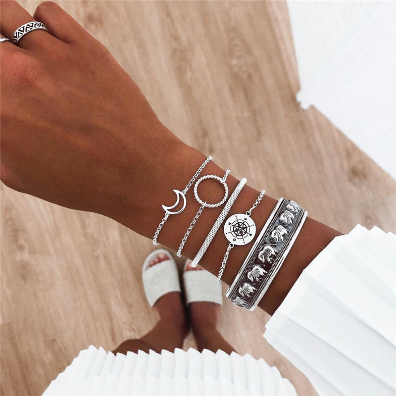 NEWBUY 5Pcs/Set Vintage Silver Color <font><b>Open</b></font> Bangle <font><b>Bracelet</b></font> Retro Bohemian Moon Elephant <font><b>Bracelet</b></font> For Women Girl Dropshipping image