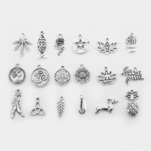 20pcs Charms Hemp Leaf Rose Flower Sunflower Lotus Triangle Knot Beach Shell Pendant For Earring Jewelry Making