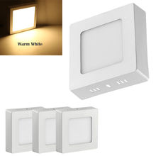 2pcs 6W LED Surface Mounted Ceiling Down Panel Lighting Natural White Bathroom Lamp new modern square led panel surface mounted ceiling light white black bathroom ac110 240v luminarias para