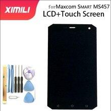 Peças de montagem do digitalizador, original, 5 polegadas para maxcom smart ms457 lcd, touch screen, peças de montagem