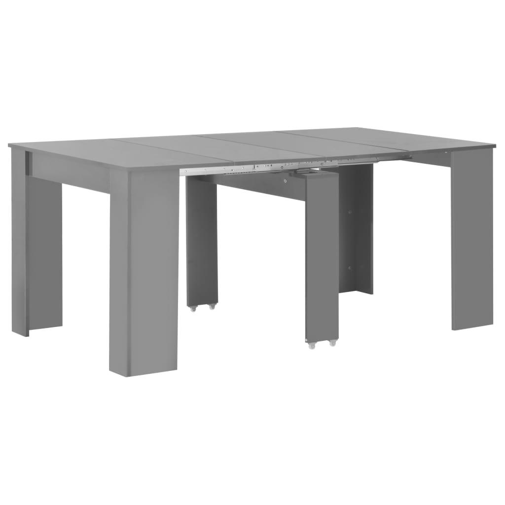 VidaXL Extendable Dining Table High Gloss Grey 175x90x75 Cm