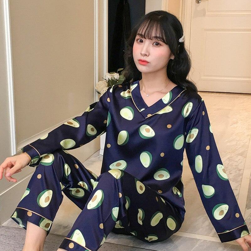 Liang Xing-Autumn & Winter V-neck Viscose Double Short Avocado Blue Printed Pajamas Suit M-XXL
