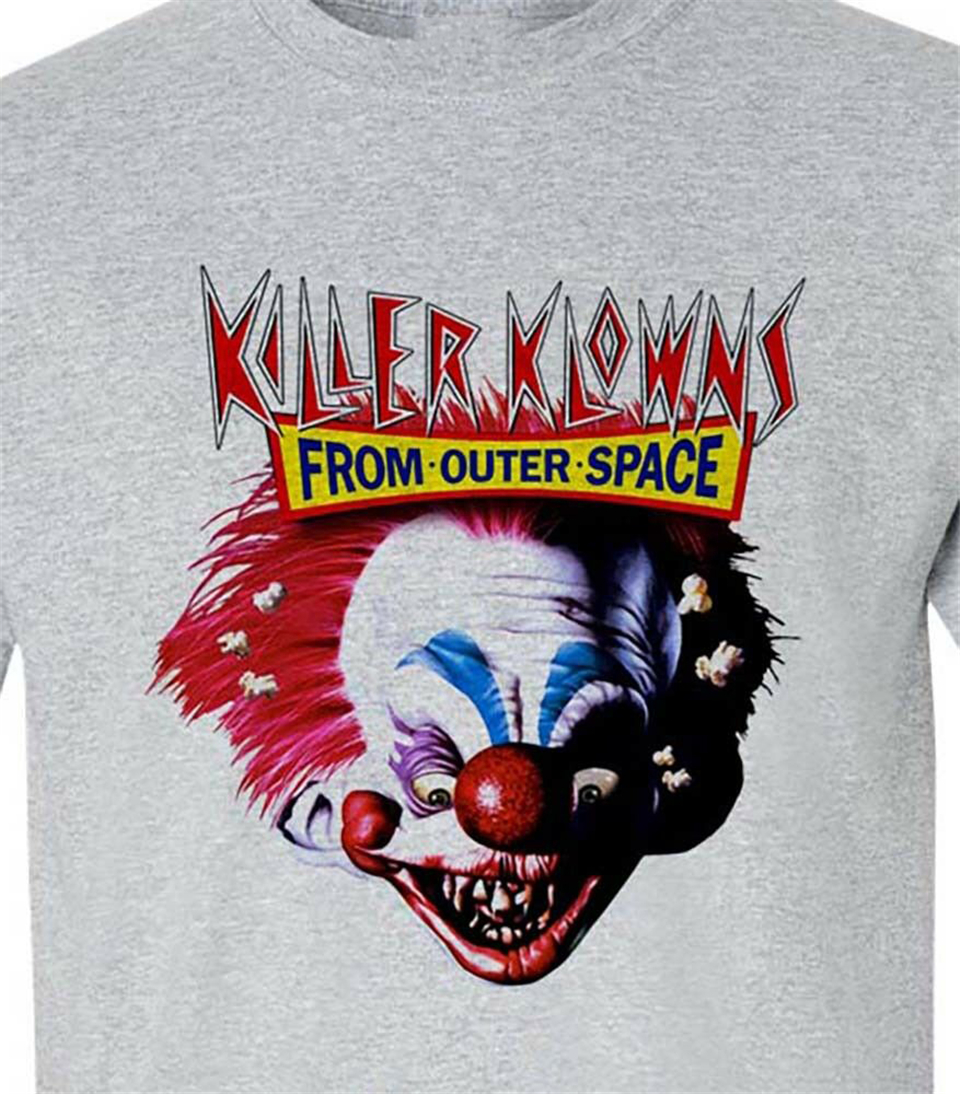 Killer Klowns from Outer Space T-Shirt retro 1980s horror movie cotton Quality Tops Tee Shirt image