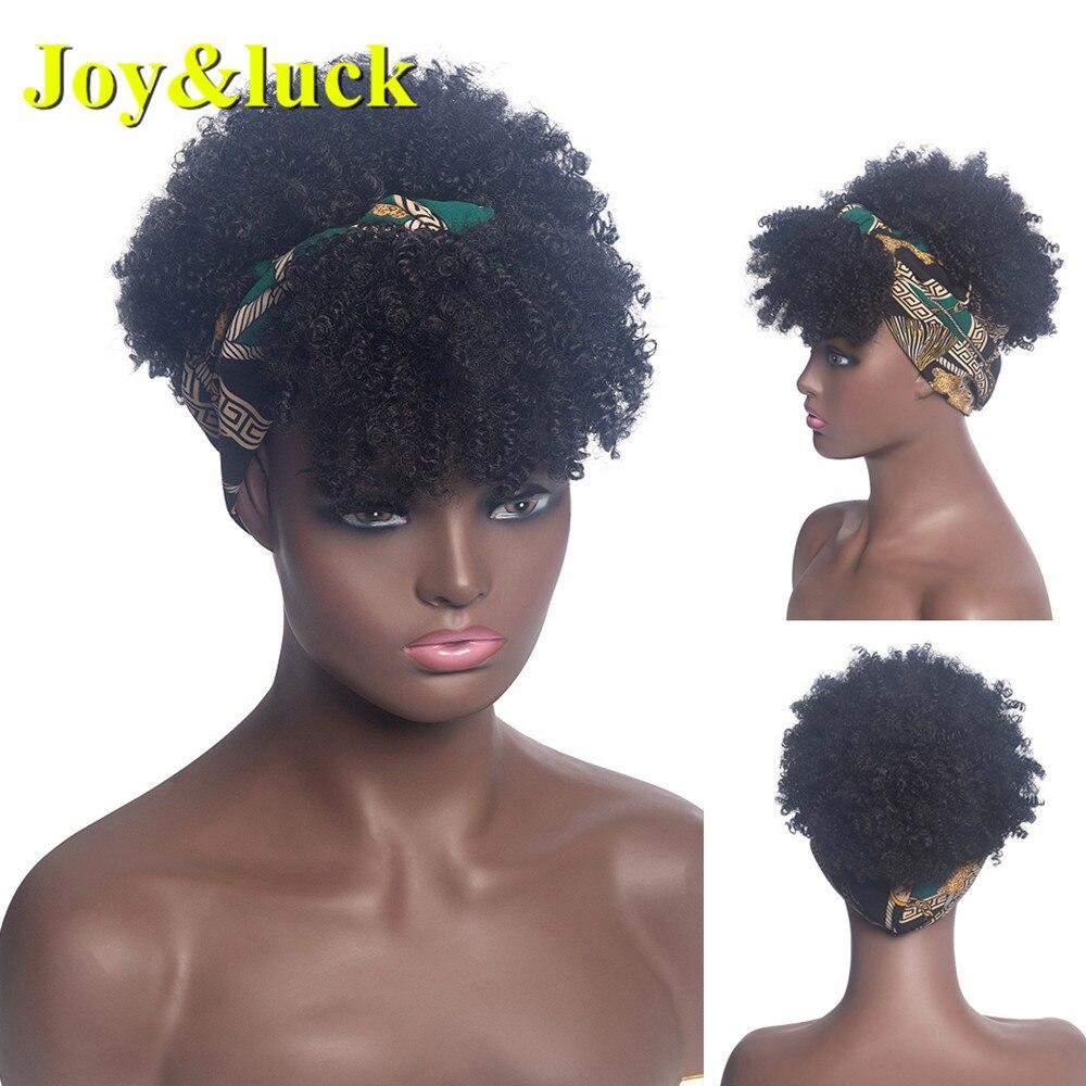 Joy & luck-perruque synthétique Turban, bandeau moelleux, coiffe, Afro crépus, enroulé lié, bandeau pour femmes