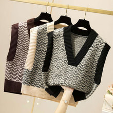 Winter Korean Style Striped Short Sweater Vest Women Sleeveless V Neck Knitted Pullover Loose Coat Jumper Mujer Woman Clothes