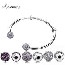 Moonmory Moments – Bracelet ouvert en argent Sterling S925 avec Zircon rouge, bijoux à breloques, à faire soi-même